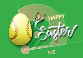 Happy Easter. Easter Egg In The Form Of A Softball Ball On A Softball Field Background. Vector Illus poster