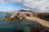 stock photo of papagayo  - Playa de Papagayo and coastline in Lanzarote Canary Islands Spain - JPG