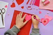 Making Of Handmade Valentine Greeting Card From Felt. Childrens Diy, Hobby Concept, Gift With Your  poster