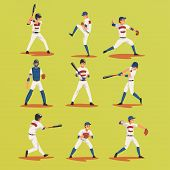 Baseball Players In Different Poses Set, Softball Male Athletes Characters In Uniform Vector Illustr poster