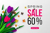 Spring Sale Banner With Paper Cut Tulips, Narcissus And Butterfly. Template For Banners, Flyers, Pos poster