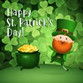 Happy St Patricks Day Lettering, Leprechaun And Pot Of Gold. Saint Patricks Day Greeting Card. Typed poster