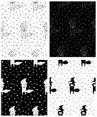 Cute Cartoon Hand Drawn Winter Pattern Collection. Sweet Vector Black And White Winter Pattern Colle poster