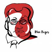 Max Reger Engraved Vector Portrait With Ink Contours. German Composer, Pianist, Organist, Conductor, poster