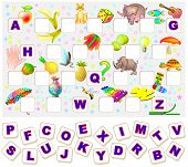 Worksheet For Children With Exercise For Study English Alphabet. Find The Missing Letters And Write  poster
