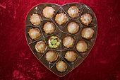 Valentines Day Marijuana. Red Velvet Heart Shaped Valentines Day Box with Chocolates and Marijuana B poster