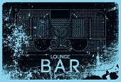 Lounge Bar Menu Typographical Vintage Style Grunge Linear Geometric Pattern Design. Retro Vector Ill poster