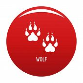 Wolf Step Icon. Simple Illustration Of Wolf Step Vector Icon For Any Design Red poster
