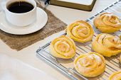 Homemade Cookies With Sugar And Meringue. Homemade Roses Cookies. poster