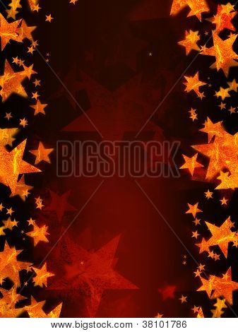 Red Background With Shining Golden Stars