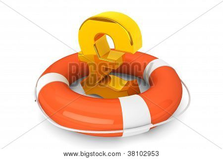 Golden Pound Symbol In Life Buoy