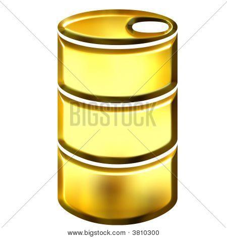 3D Golden Oil Drum