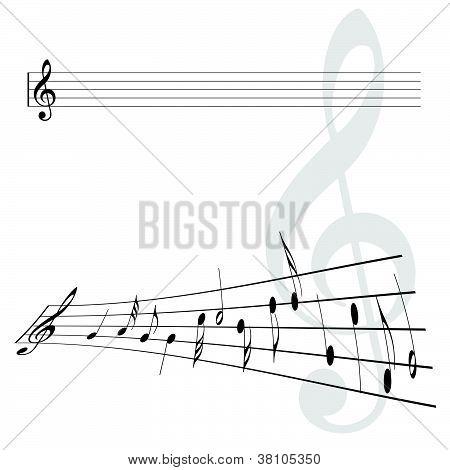 Violin Key And Notes Vector Illustration