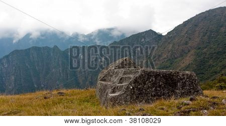 Machu Pichu - Ceremonial Stone At The Guardhouse