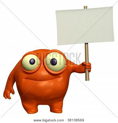 Cute Monster Holding Placard