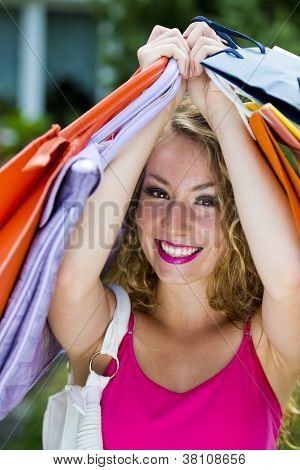 Happy Shopping Teen Girl