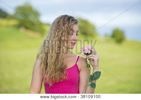 Beautiful Teenager Girl With Rose
