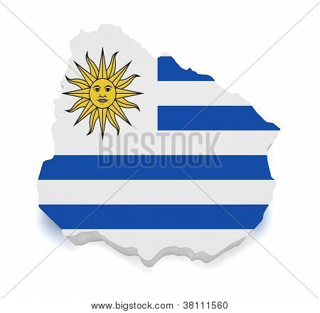 Uruguay Map 3D Shape