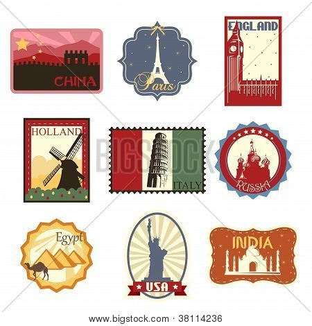 Travel Labels Or Badges
