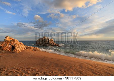 Sant Pol De Mar Beach In Maresme, Barcelona, Spain