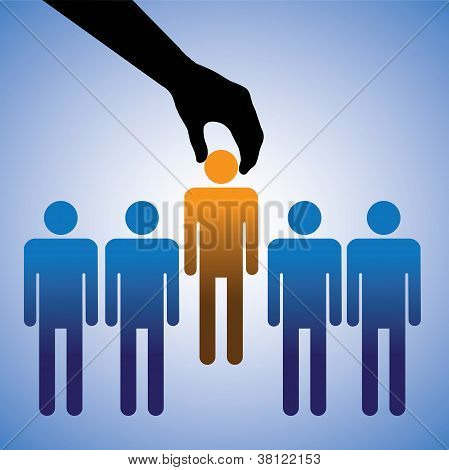 Concept Illustration Of Hiring The Best Candidate. The Graphic Shows Company Making A Choice Of The