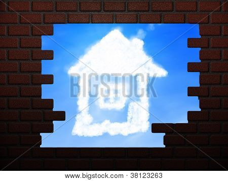House Of Clouds In Hole In Brick Wall