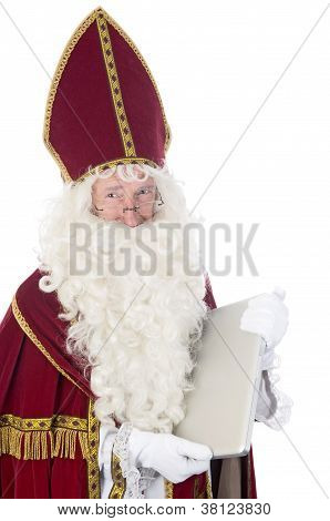 Sinterklaas Using A Laptop