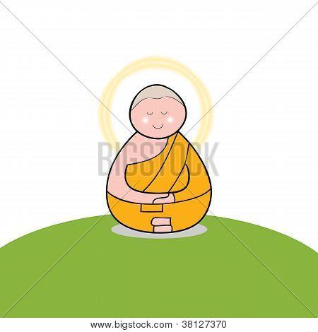 Buddhist Monk Cartoon Hand Drawn