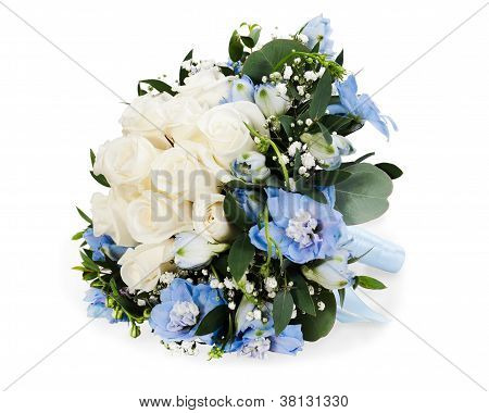 Colorful Floral Bouquet From White Roses And Delphinium Isolated On White Background