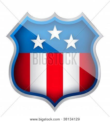 Us Patriotic Security Shield Illustration Design