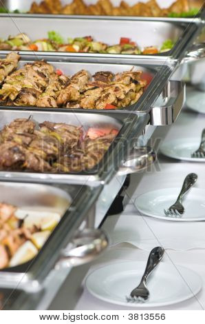 Banquet Meal Trays Served On Tables