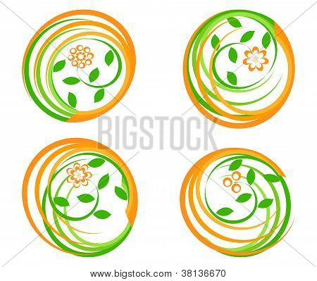Vector Illustration Of A Set Of A Green Icons With Flower. .