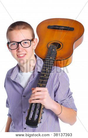 boy with classical Spanish guitar