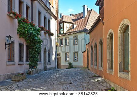 Coblestone Lane In Rothenburg.
