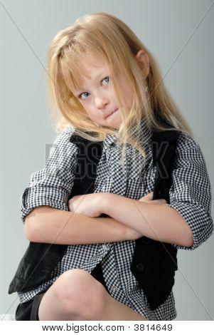 Uncooperative Cute Blond Little Girl