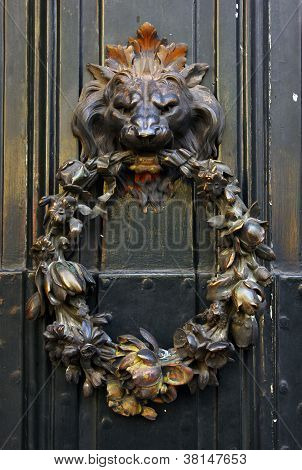 Detail of a door with a lion