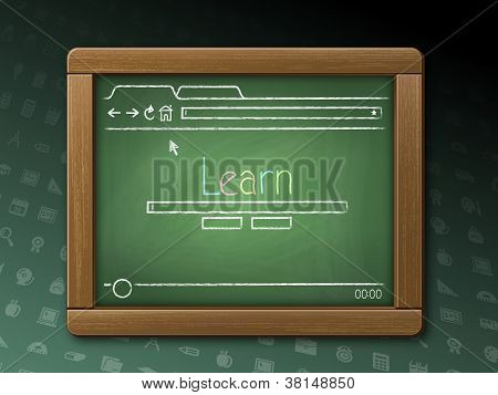 Webpage On A Chalkboard