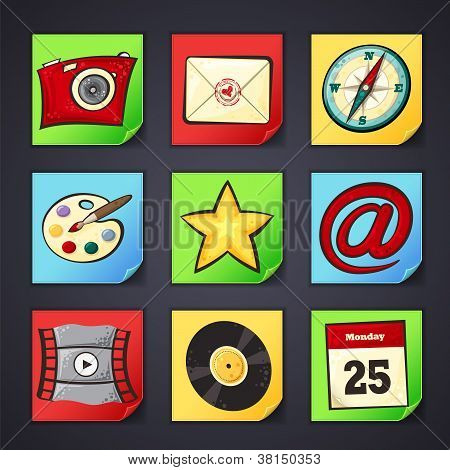 Icons for apps in cartoon style