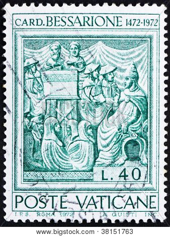 Briefmarke Vatikan 1972 Johannes Kardinal Bessarion, lateinischer Patriarch von Konstantinopel