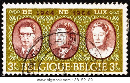 Postage stamp Belgium 1964 Royal rulers in the Benelux