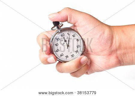 cronómetro plata aislado sobre fondo blanco