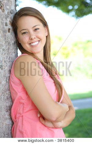 Pretty Woman Happy In Park