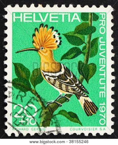 Postage stamp Switzerland 1970 Hoopoe, Upupa Epops, bird