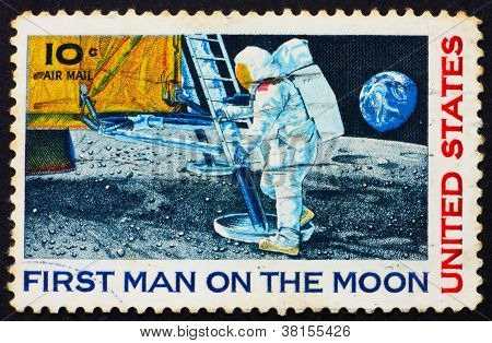 Postage stamp USA 1969 Man's 1st landing on the moon, Apollo 11