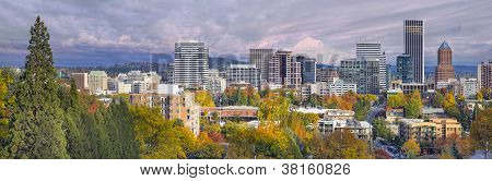 Portland Oregon Downtown Skyline With Mt Hood