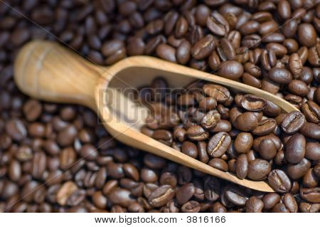 Coffee Beans Wooden Scoop Close Up