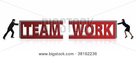 Business Team Work Illustration Isolated In White