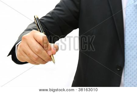 Business Man Hand Writing Something
