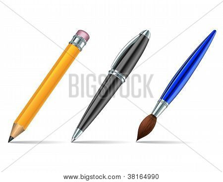 Pen tools isolated on the white background