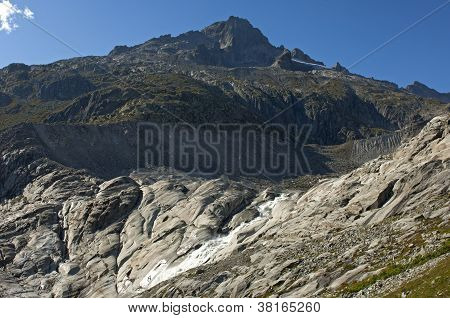ice-free bed of the retreating Rhone glacier